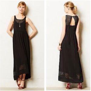 ANTHROPOLOGIE Lilka  Black Lace Inset Maxi Dress